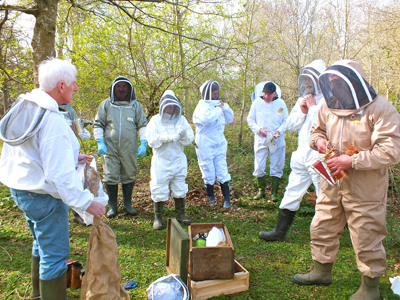 The Killinchy beekeepers class  pictured during a training session.