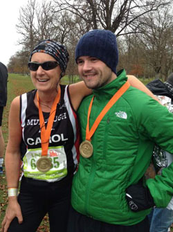 Carol McMenamin of Mourne AC with Gavin Oakes of East Down AC at the Dublin New York Marathon.