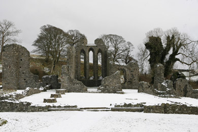Inch Abbey, an attraction to visitors all year round.
