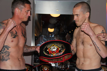 Davy Foster, right, facing Scott Bryans fro the British welterweight kickboxing crown.