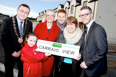 Clanmil Housing Association's new development in Raholp near Downpatrick has been named Carraig View at the suggestion of local school girl Niamh McGrath, a pupil at St Patrick's PS, Saul. Niamh was congratulated on choosing the name. From left, Cllr Mickey Coogan, Chairperson of Down District Council, South Down MP Margaret Ritchie, Damien Teague, Clanmil Housing Association Development Officer, Clare McCarty, Clanmil Housing Association Chief Executive and Cllr Gareth Sharvin.