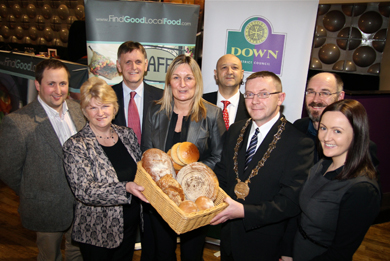 Cllr Anne McAleenan, Chair Cultural and Economic Development Committee, Down District Council; Amanda Ferguson, Dundrum Inn, Dundrum; Cllr Mickey Coogan Chairperson Down District Council; Aideen Breenan, Economic Development Initiatives Manager; (back row) Adam Kelly Leggygowan Farm, Ballynahinch; Mark Bleakney Invest NI Southern Regional Manager; Nick Lestas, Lestas Consulting and David Patterson, Economic Development Manager, Down District Council.