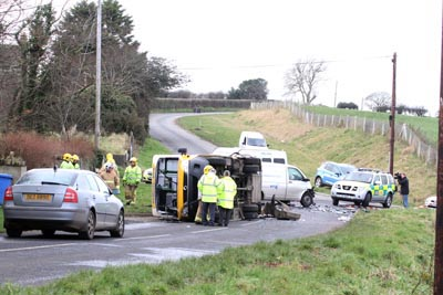 The scene of the Knockevein School bus crash on the Vianstown Road near Downpatrick.