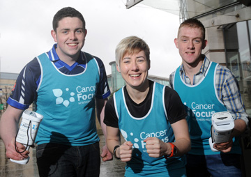 The countdown to No Smoking Day on Wednesday March 13 is underway. Nathan Fitzpatrick (left), from Hilltown, is giving up the habit with the support of Cool FM DJ, marathon runner Sonya Mac, and Eddie Devlin, Hilltown. Nathan and Eddie plan to get healthier by taking part in the Deep RiverRock Belfast City Marathon on May 6 – and are going the extra mile to fundraise for the official marathon charity Cancer Focus Northern Ireland (the new name for the Ulster Cancer Foundation). Cancer Focus provides a wide range of services for cancer patients and their families in Northern Ireland