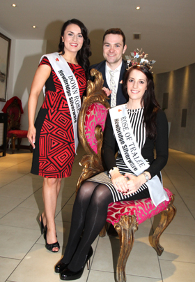 Rose of Tralee Nicola McEvoy, seated , with Co Down 2012 winner Una Matthews and escort Aidan Clarke pictured at their visit to the Slieve Donard Resort and Spa in Newcvastle.