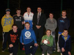 Alan Lewis, back centre, UKIP representative in Clough last year during the Midnight Soccer session.