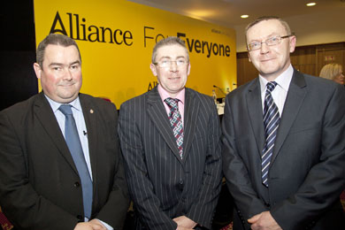 Councillor patrick Clarke, centre, invited his indepependent coullor colleagues terry Andrews and Mickey Coogan on Down District Council to the Alliance Party annual conference in the La Mon Hotel.  (Photo by Kevin Cooper of Photoline.)
