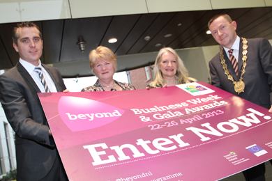 At the launch of the Beyond Business Week and Awards were Michael Forster, Beyond Business Intelligence Officer,  Councillor Anne McAleenan, Economic Development Committee Chairperson, Beyond Business Outreach Officer Vicki Maquire, and Down District Council Chairperson Councillor Mickey Coogan.