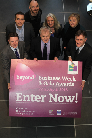 Making a call for entries to the Beyond awards are, front row, Michael Morrisey, Crossagr Food Service, Trevor Scott of Walter Watson (main sponsor), and Mark Bleakney, Invest NI Southern Manager. with Michael Forster and Vicki Maquire, and Janice Symington, Down Business centre Manager  with David Patterson, Down District Council Economic Development Manager, back.