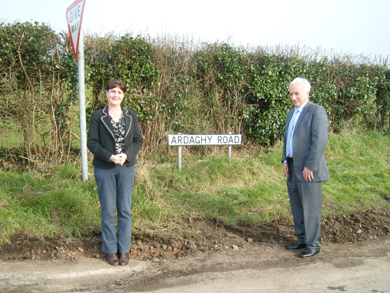 Newcastle area Councillor Carmel O'Boyle and South Down MLA are delighted at road repairs in Cabra.