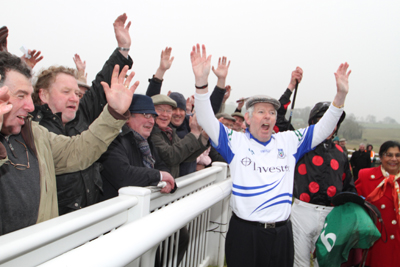 Oliver Brady, Monaghan trainer, gets the crowd going at Downpatrick Races.