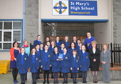 Year 8 St Mary's pupils proudly show off the CRED award. Included are teachers Rachel McKee, History Head, Louise O'Prey, Drama Head, Cathil Murphy, Music Head and School Principal Mrs Shiela Darling and Vice Principal Mrs Rosemary McLaughlin.