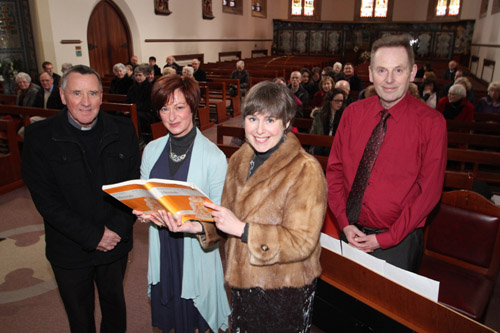 Canon Sean Rogan pictured with singers Debra Stuart and Catherine Harper with organist Michael McCracken.