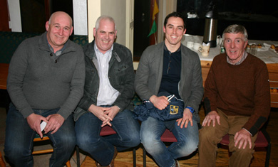 Francis McKinbbin, Brendan Fitzpatrick, Aaron Kernan and Tommy Walsh at the U-21 awards night.