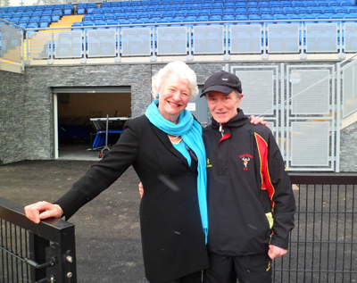 Dame Mary Peters with Joe Quinn MBE at the recently refurbished Mary Peter track in Belfast.