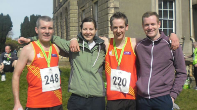 East Down AC runners Michael McKeown, Catherine O'Connor, Michael Cultra, and Dermot Cahill at Castle Ward.
