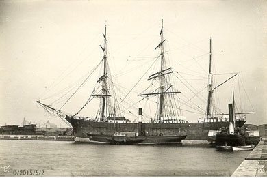 A sailing ship berthed in Killyleagh in the nineteeth century ready to take emigrants to America.