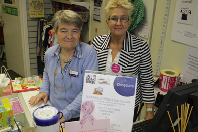 Cancer Research NI shop volunteer Mary Lou Mullan with shop manager Lee Parr pictured after the break-in.