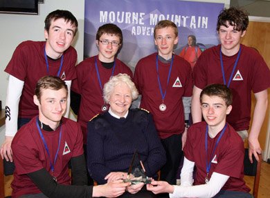 Dame Mary Peters pictured with Down High School pupils Matthew Ferguson, Luke Gelston, Ryan Hull, Jamie Graham, Andrew McCullough and Andrew Pentland.