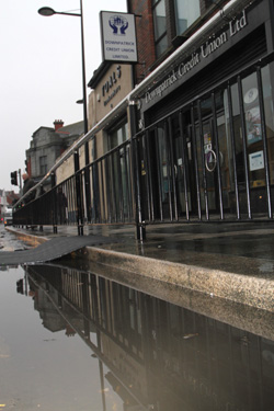 The flood waters abate in Market Street in Downpatrick.