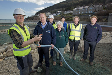 Kieran Grant, NI Water Oriject Manager, Fergus Bannon, Dawson-Wam Ovivo, Jo Whatmough, and Michael Carey, right, Mourne Heritage Trust, with local landscape and seeding experts.