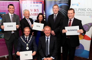 Looking forward to an era of digital growth are NIAL Parfitt, Logon N.I, Sean Rodgers MLA, Colleen Dowdall, CEO Newry Chamber of Commerce, Paul Convery, Head of Business, BT and Martin Paterson. Front row Mayor John McArdle and Dr Sinclair Stockman DNI 2020.