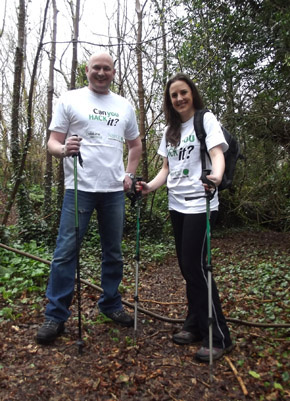 First walker signed up Michael Wilgar with Caire Galbraith of the NSPCC looking forward to the 2013 Mourne HACK.
