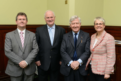 Jeffrey Donalson MP, Former Taosaich John Bruton, Christopher Moran, Co-operation North Chairman, an Margaret Ritchie MP at Westminster at the xxxx