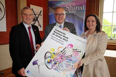 John McAllister MLA pictured with John McCusker, Communiuty Relations Council Chair, and Suzanne Rice, External Good Relations Officer with Newry and Mourne District Council.