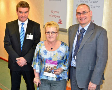 Launching the Guide, 'Advice for people with disabilities finding a home' L to R Kevin Doherty, Interim Chief Executive, Disability Action, Isobel Hamilton, Member of Disability Forum and Housing Community Network and John McPeake Housing Executive Chief Executive.
