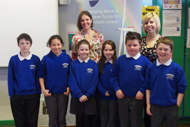 Pupils from Newcastle Primary School  with Sacha Workman, First Flight Wind education officer, and class teacher Ms Donaldson after talking about wind energy and offshore wind.