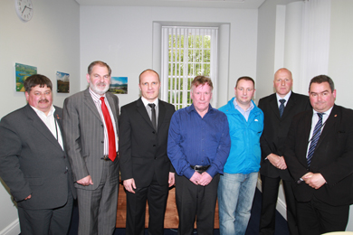 Pictured after the meeting of the Down District Council Recreation Committee were Councillors Billy Walker and Garth Craig, with Langley Residents Assiciation members Stephen Earley, William Johnston, Andrew Stenson and John Wilson with and Councillor Terry Andrews.