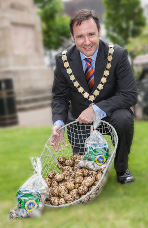 Ards Borough Council Mayor Councillor Stephen McIlveen launches the Comber Potato Festival.