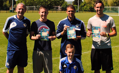 David Healy with Irish FA Grassroots Development Officer (Down District), Seamus Heath; local Irish league stars Michael Carvill and Andrew Waterworth and County Down Excellence Player, Nathan Heath.