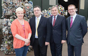 Pictured at their state-of the-art-facility are Susan Wright, General Manager of Wright Recycling, The Minister for Employment and Learning Dr Stephen Farry, SERC Principal Chief Executive Mr Ken Webb and MLA Simon Hamilton.