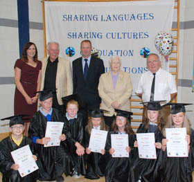 Laura O'Hare, Shimna Integrated College, Brian Small, Integrated Education Fund, Paul Caskey, Integrated Education Fund, Baroness May Blood, guest speaker and Kevin Lambe, Shimna Integrated College