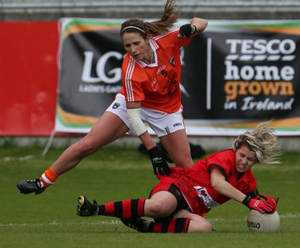 Tash Ferris in posssession for Down against Armagh in a previous clash.