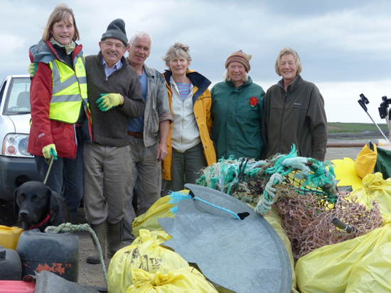 Doris Noe, Chairperson of Lecale Conservarvation, with Roger Dunford, Philip Allen, Micheen Bradley, Marion Partridge and Lenore Rae, after a recent beach clean at Minerstown beach.