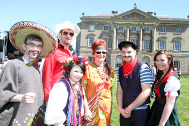 Art lecturer Alice McDaniel, third right, pictured at the the recent Bread Fest in Castleward with her students adding a splash of colour and fun on a gloriously sunny day.