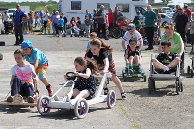 Action in the Ballyhornan fun day cart races.