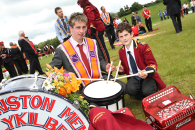 Jack Orr of Ballykilbeg LOL 1040 with drummer boy William Edgar of the Johnston Memorial Flute Band