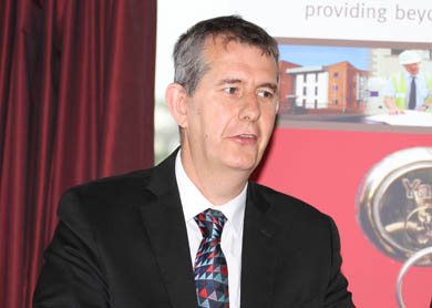 Health MInister Edwin Poots speaking at the official opening of Cedar Grove in Downpatrick.