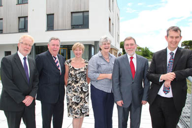 Ian Kirkpatrick (Chairman, Trinity Housing Assoc.),  Colm McKenna (Chairman, South Eastern HSC Trust), Rhonda Robinson (Manager, Cedar Court), Sue Hogg (Vice-Chair Trinity Housing Assoc.), Nelson McCausland (Social Development Minister), Edwin Poots (Health Minister)