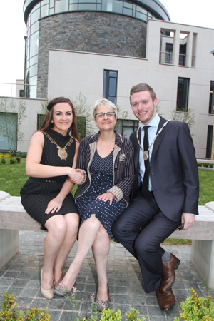 South Down MP Margaret Ritchie congratulates new Down District Council Chairperson Councillor Maria McCarthy and Councillor Gareth Sharvin, Vice Chair on their new offices.