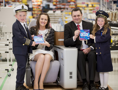 Organised by Down District Council, the B/E Aerospace Festival of Flight on Saturday 10 August boasts over 30 events, many with FREE admission.  B/E Aerospace's Neil Cairns, Vice President & Managing Director and Chairman of Down District Council, Councillor Maria McCarthy, launching the festival programme with Jake Cousins and Julia Graham, (both 6) from Kilkeel.