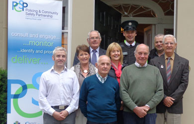 Pictured are James Laverty, Frances McAtamney. NICVA; Cllr Patsy Toman; Sergeant Nigel Donnelly; PCSP Network Committee Chairman, John Huddleston; and PCSP member, John Gordon with local Neighbourhood Watch Coordinators.