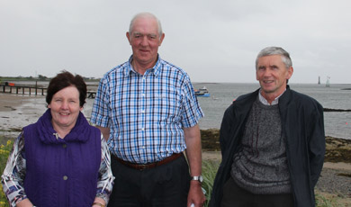 Pictured with Sean Cunningham our two members of the Greenore Historical Society Ann Larkin and Hugh Rafferty.