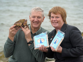 Major blow. Harold Henning, Director of Henning Brothers, Kilkeel, with Dr Vicky Kell, Invest NI Trade Director the crab products pictured two years ago as he won an export order fro shellfish in on the Continent.  (Photo by Simon Graham/Harrison Photography.)