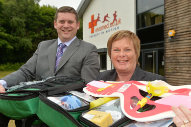 Chris Webb of Vivomed, is pictured with Invest NI Dr Vicky Kell Invest NI at in Downpatrick.