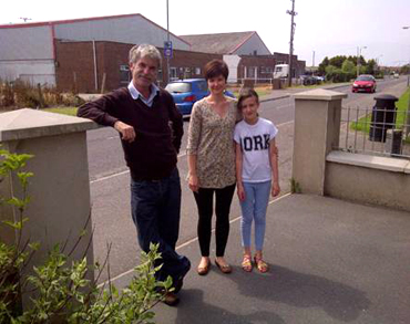 Coun cillor Eamonn MAc Con Midhe with Ardglass residents